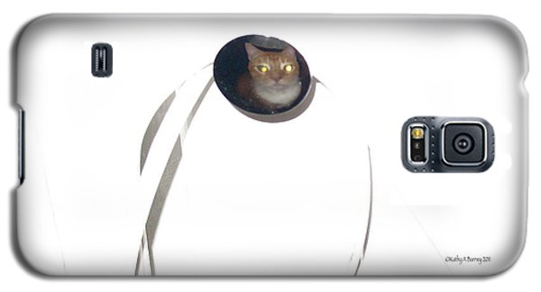 Galaxy S5 Case featuring the photograph Olga Cat Reflected In Drawer Knob by Kathy Barney