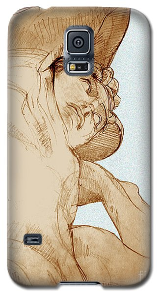Galaxy S5 Case featuring the drawing Olympic Athletics Discus Throw by Greta Corens