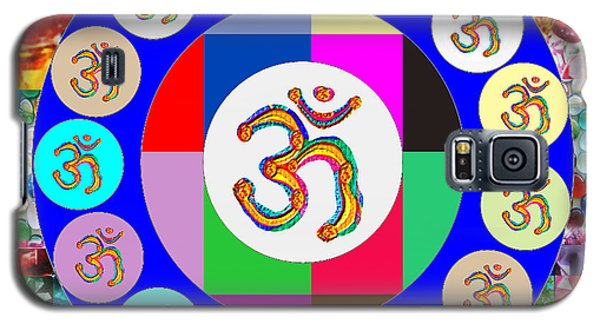 Om Mantra Dedication  Devotion Symbol Assembly By Artist N Reiki Healing Master Navinjoshi Galaxy S5 Case by Navin Joshi