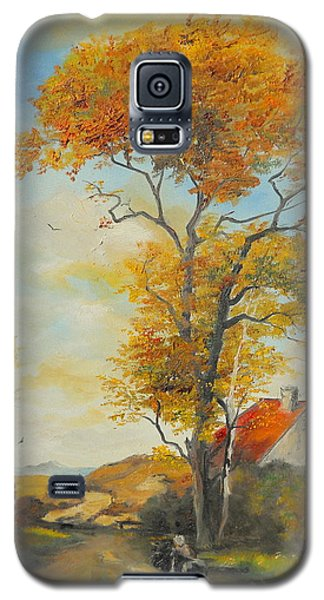 Galaxy S5 Case featuring the painting On Country Road  by Sorin Apostolescu