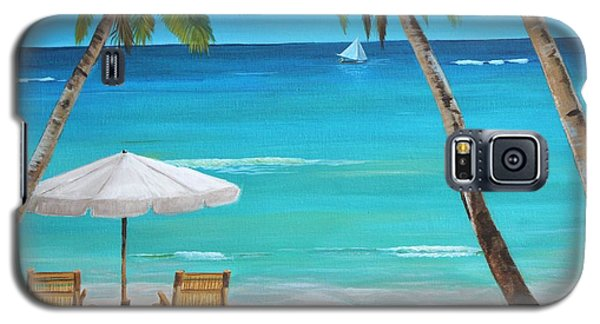 Galaxy S5 Case featuring the painting On The Beach by Jesslyn Fraser