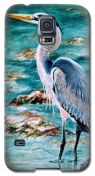 Galaxy S5 Case featuring the painting On The Rocks Great Blue Heron by Roxanne Tobaison