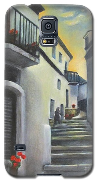 Galaxy S5 Case featuring the painting On The Way To Mamma's House In Castelluccio Italy by Lucia Grilletto