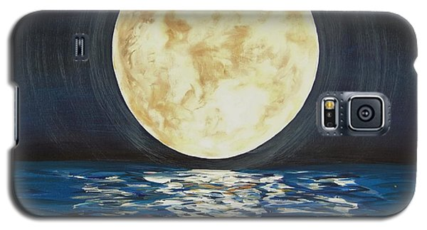 Galaxy S5 Case featuring the painting Once In A Very Blue Moon by Cindy Micklos