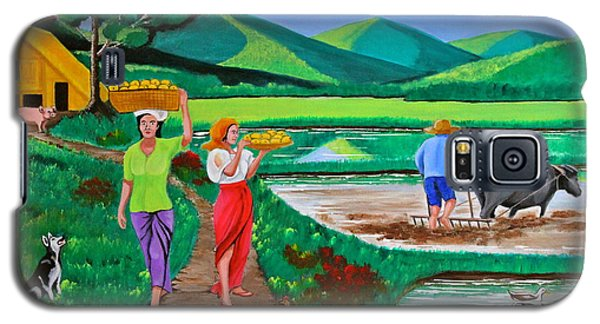 Galaxy S5 Case featuring the painting One Beautiful Morning In The Farm by Cyril Maza