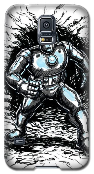 Galaxy S5 Case featuring the drawing One Small Step For Iron Man by John Ashton Golden