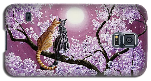 Orange And Gray Tabby Cats In Cherry Blossoms Galaxy S5 Case