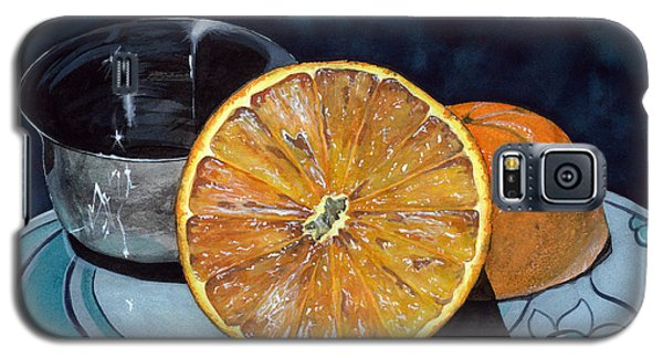 Galaxy S5 Case featuring the painting Orange And Silver by Barbara Jewell