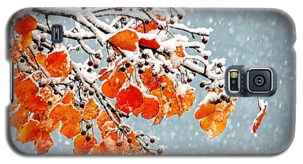Galaxy S5 Case featuring the photograph Orange Autumn Leaves In Snow by Tracie Kaska