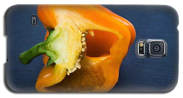 Orange Bell Pepper Blue Texture Galaxy S5 Case by Matthias Hauser