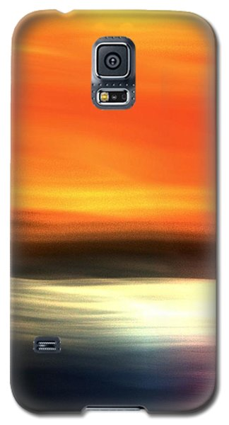 Galaxy S5 Case featuring the mixed media Orange Black Blue by Terence Morrissey