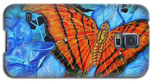 Galaxy S5 Case featuring the painting Orange Butterfly by Debbie Chamberlin