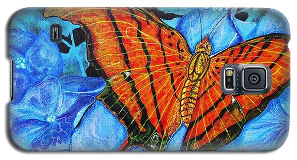 Orange Butterfly Galaxy S5 Case by Debbie Chamberlin