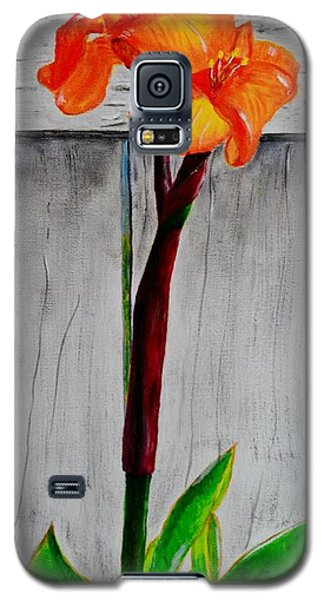 Galaxy S5 Case featuring the painting Orange Canna Lily by Melvin Turner