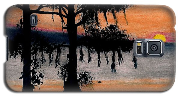 Galaxy S5 Case featuring the drawing Orange Cypress Sunset by D Hackett