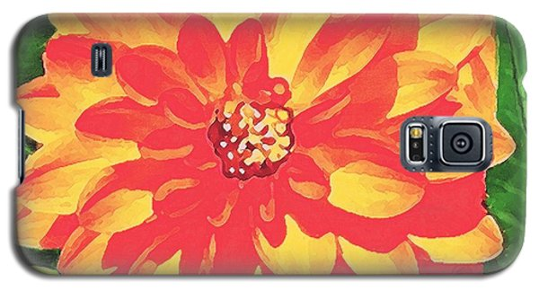 Galaxy S5 Case featuring the painting Orange Dahlia by Sophia Schmierer