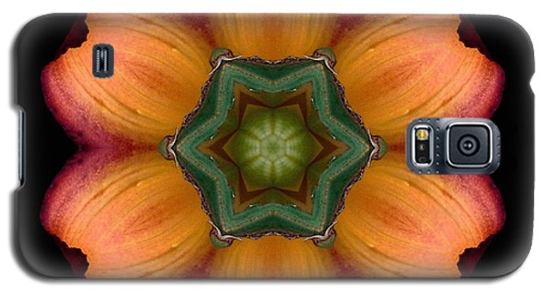Galaxy S5 Case featuring the photograph Orange Daylily Flower Mandala by David J Bookbinder