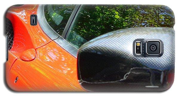 Galaxy S5 Case featuring the photograph Orange Ferrari  by Jeff Lowe