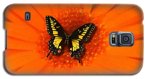 Orange Flower And A Butterfly By Saribelle Rodriguez Galaxy S5 Case by Saribelle Rodriguez