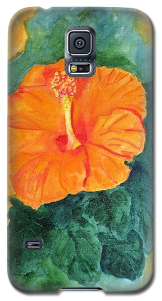 Orange Hibiscus Galaxy S5 Case by Sandy McIntire