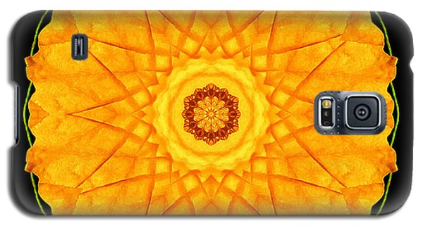 Galaxy S5 Case featuring the photograph Orange Nasturtium Flower Mandala by David J Bookbinder