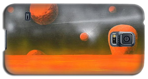 Galaxy S5 Case featuring the painting Orange Planet by Tim Mullaney