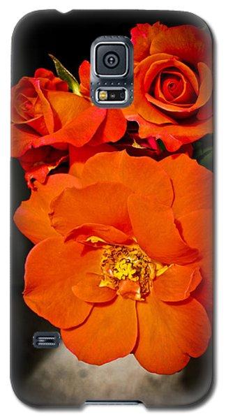 Galaxy S5 Case featuring the photograph Orange Rose Trio by Joann Copeland-Paul