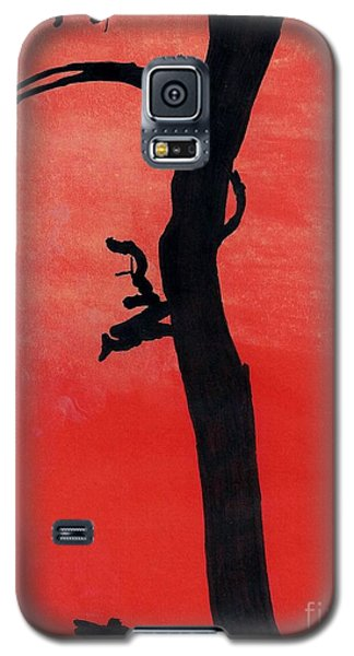 Galaxy S5 Case featuring the drawing Orange Sunset Silhouette Tree by D Hackett