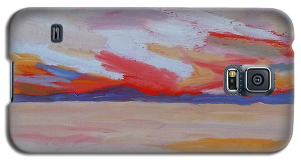Galaxy S5 Case featuring the painting Orange Sunset by Francine Frank