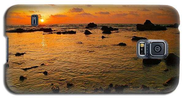 Galaxy S5 Case featuring the photograph Orange Sunset by Meir Ezrachi