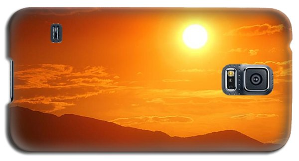Galaxy S5 Case featuring the photograph Orange Sunset Over Mountains by Tracie Kaska
