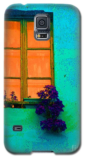 Galaxy S5 Case featuring the photograph Orange Window With Flowers by Ann Johndro-Collins