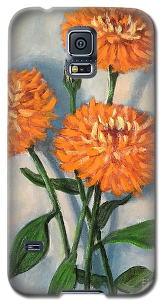 Galaxy S5 Case featuring the painting Orange Zinnias by Randol Burns