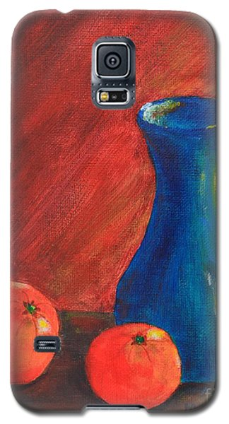 Galaxy S5 Case featuring the painting Oranges And A Vase by Melvin Turner