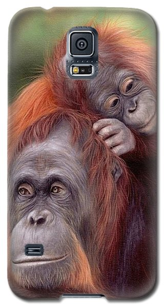 Orangutans Painting Galaxy S5 Case by Rachel Stribbling