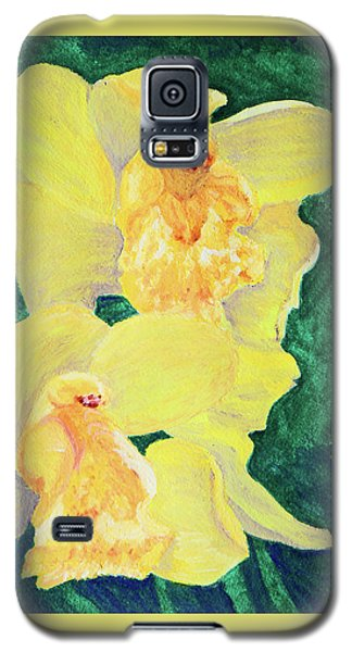 Galaxy S5 Case featuring the painting Orchid Yellow by Margaret Saheed