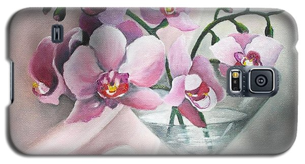 Galaxy S5 Case featuring the painting Orchids by Vesna Martinjak