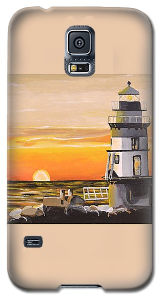 Galaxy S5 Case featuring the painting Orient Point Lighthouse by Donna Blossom