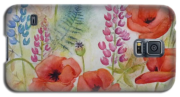 Galaxy S5 Case featuring the painting Oriental Poppies Meadow by Carla Parris