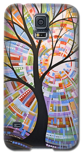 Original Abstract Tree Landscape Painting ... Here Comes The Sun Galaxy S5 Case by Amy Giacomelli