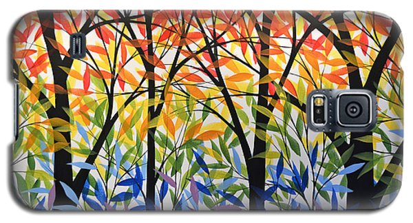 Original Modern Rainbow Trees Painting ... Spectrum Of Trees Galaxy S5 Case