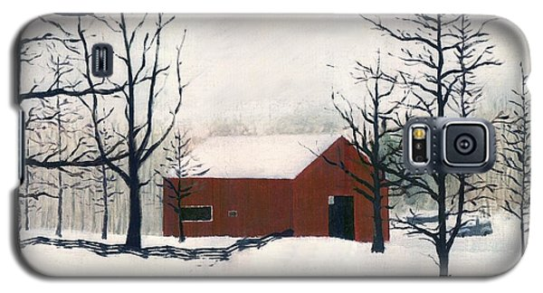 Original Painting Red Barn Snow Maryland Galaxy S5 Case