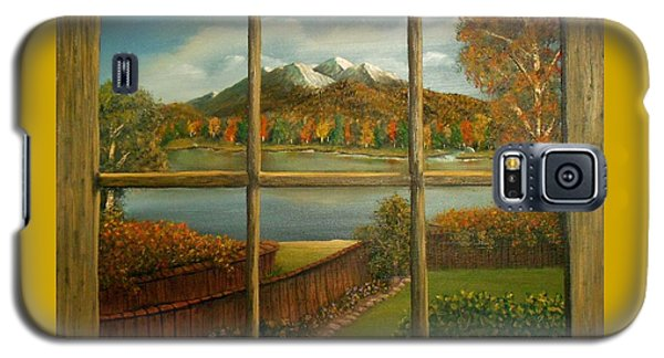 Galaxy S5 Case featuring the painting Out My Window-autumn Day by Sheri Keith
