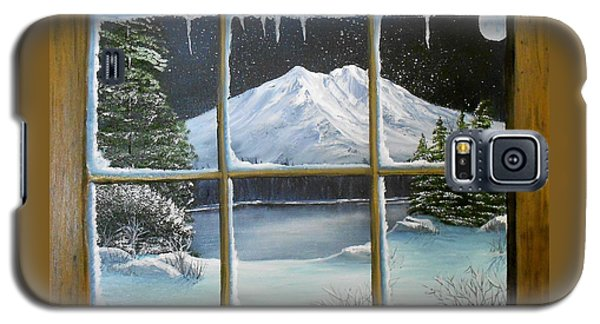 Galaxy S5 Case featuring the painting Out My Window-bright Winter's Night by Sheri Keith