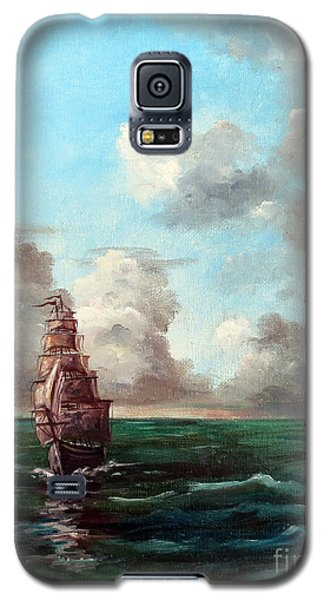 Galaxy S5 Case featuring the painting Outrunning The Storm by Lee Piper