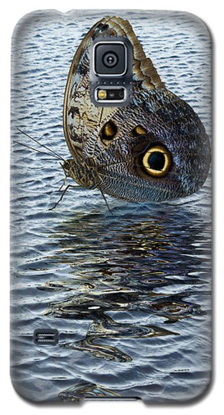 Galaxy S5 Case featuring the photograph Owl Butterfly On Water by Jane McIlroy