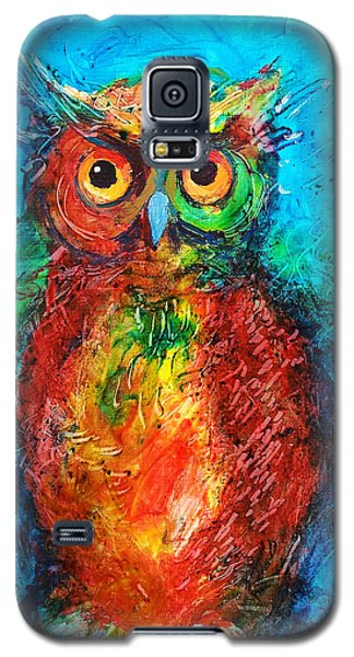 Galaxy S5 Case featuring the painting Owl In The Night by Faruk Koksal