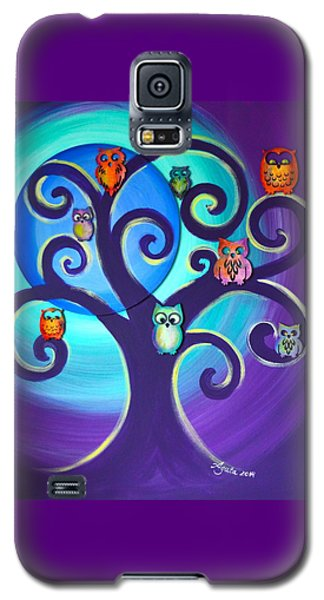 Galaxy S5 Case featuring the mixed media Owl Sweet Family by Agata Lindquist