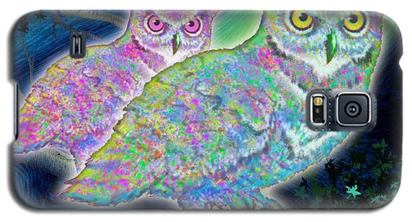 Galaxy S5 Case featuring the painting Owls At Midnight  Square by Teresa Ascone