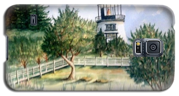 Galaxy S5 Case featuring the painting Owls Head Maine Lighthouse by Richard Benson